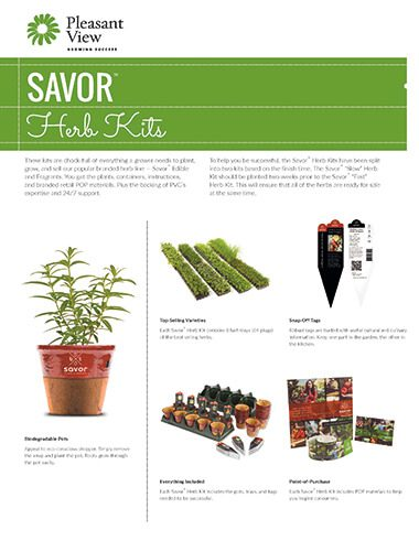 Savor™ Herb Kits Sales Sheet